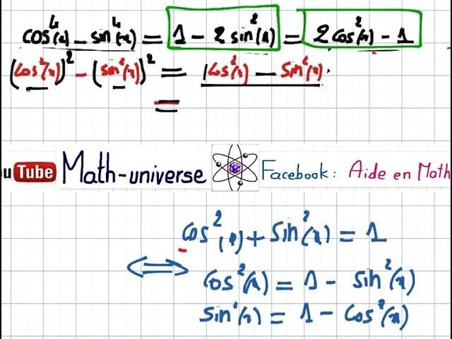 Trigonometrie Partie 3 (Formules) | 2eme SC / INFO
