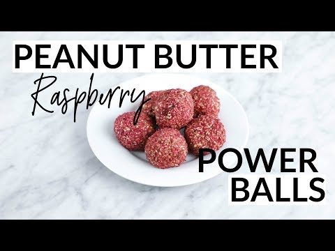 Peanut Butter Raspberry Power Balls // VEGAN + GLUTEN-FREE