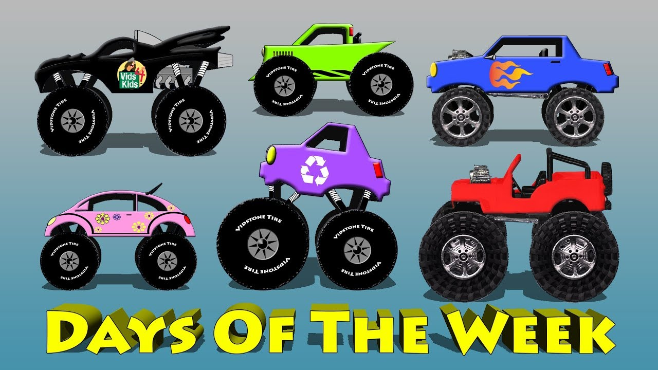 Learn The Days Of The Week With Monster Trucks Cartoon For Kids Youtube