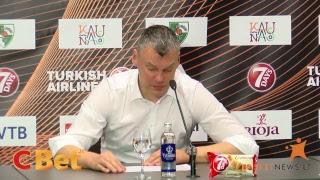 """Trenerių ir krepšininkų komentarai po Kauno """"Žalgiris"""" ir Las Palmo """"Gran Canaria"""" rungtynių."""