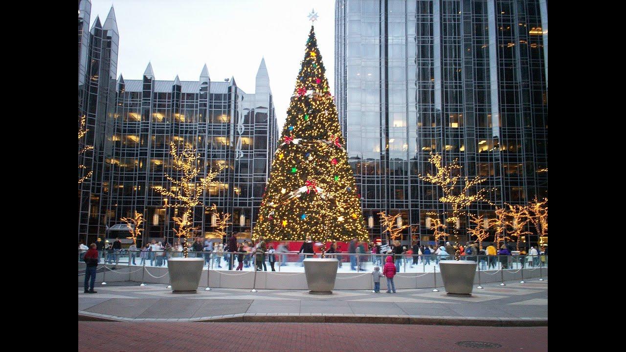 christmas tree in downtown pittsburgh pennsylvania usa youtube