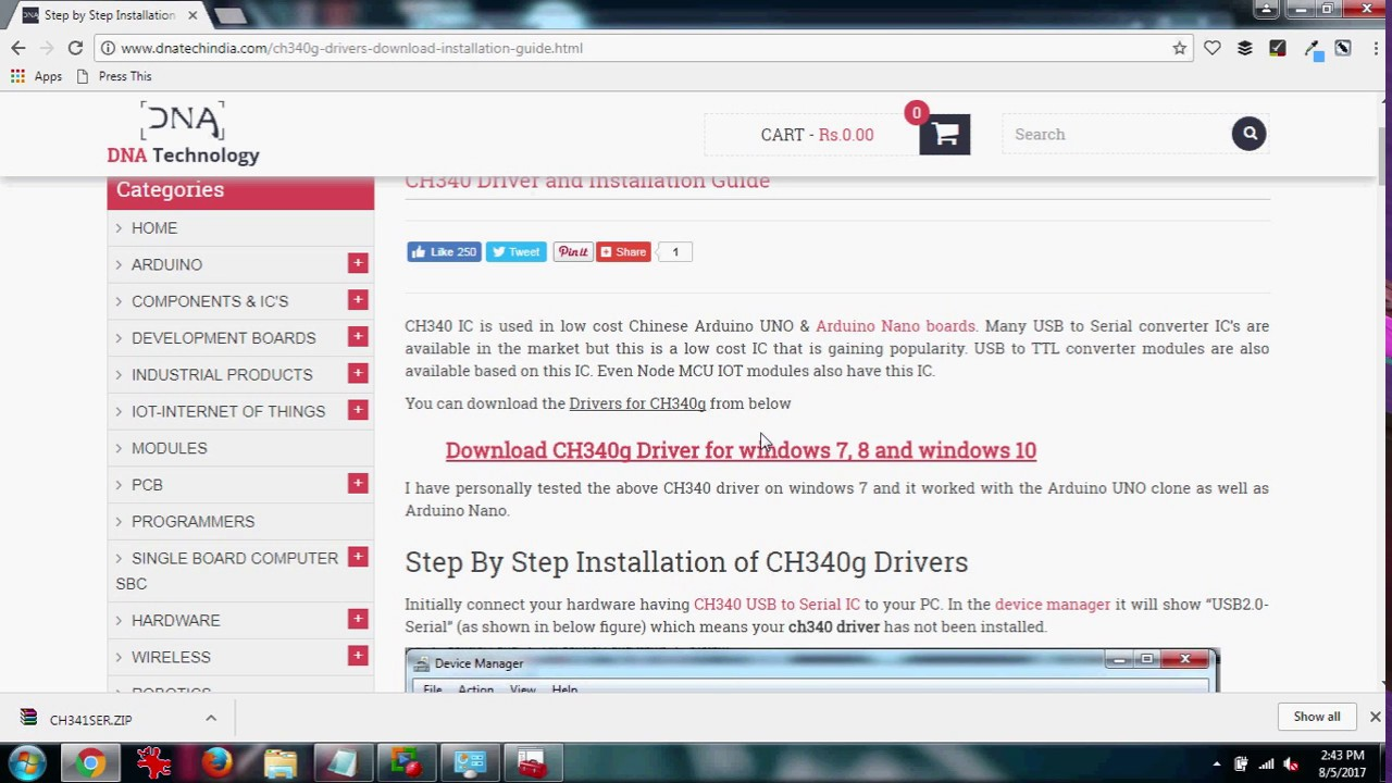 Step by Step Installation guide for CH340g USB to serial IC along