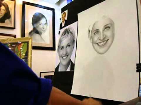 Left & right handed artist make a charcoal portrait for Ellen DeGeneres,manila Philippines part 4