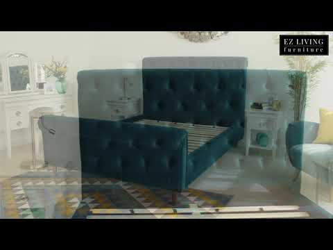 Velvet Fabric Tufted Button Headboard Bed Frame - Sofia