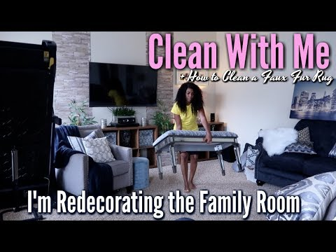 ✨Glam Home✨ CLEANING | NEW PLANS FOR FAMILY ROOM | How To Clean A Faux Fur Rug