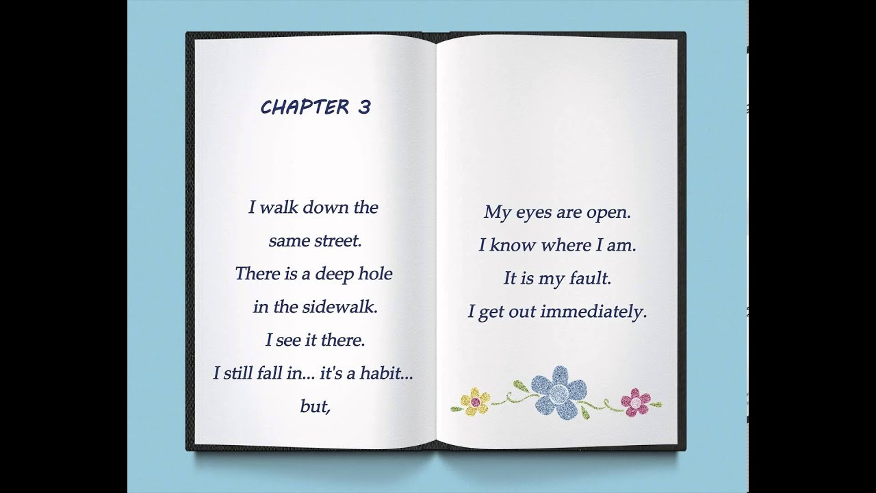 """Poem: """"An Autobiography in Five Chapters"""" by Portia Nelson"""
