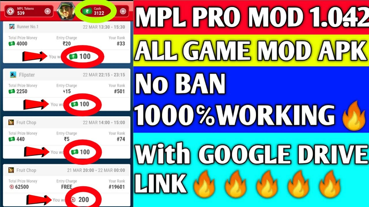 MPL PRO ALL GAMES MOD APK 1.0.42 | No Ban | 10000℅Working With Working Download Link🔥🔥  #Smartphone #Android