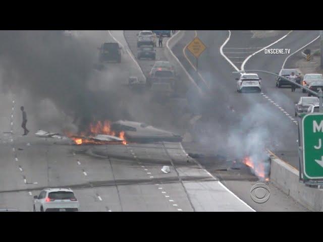 Small plane crash-lands on California's 405 freeway
