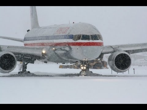 American Airlines Boing 767 Landing On A Snowy Runway  London Heathrow Airpo