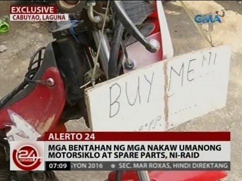 24Oras: Mga bentahan ng mga nakaw umanong motorsiklo at spare parts, ni-raid