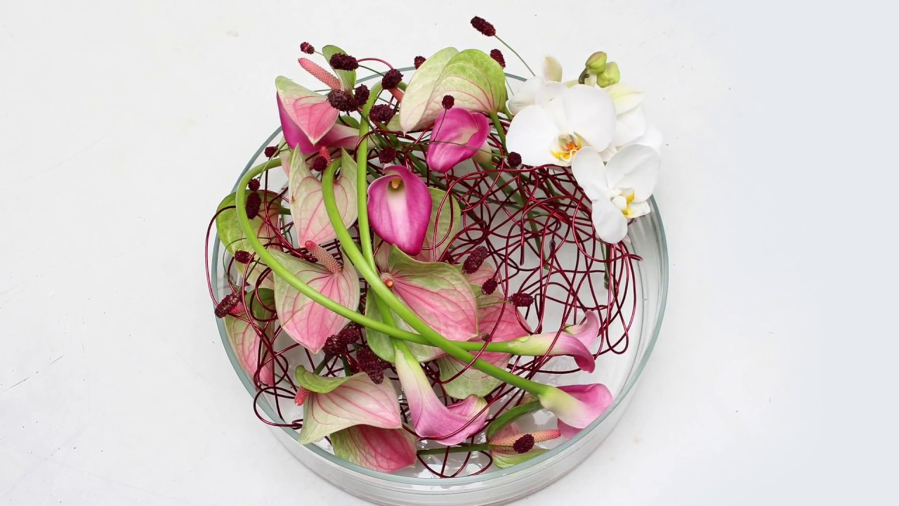 Low Glass Table Flower Arrangement Anthurium Calla Lilies