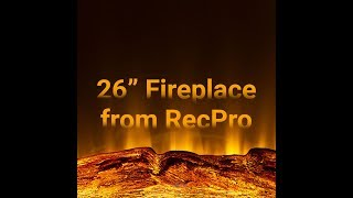 """RV Electric Fireplace 26"""" with Flame Color Settings"""