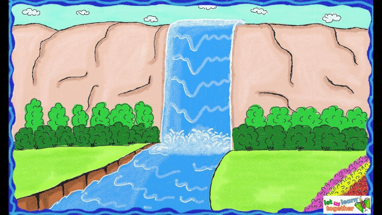 Drawing a simple waterfall how to draw waterfall drawing for kids youtube