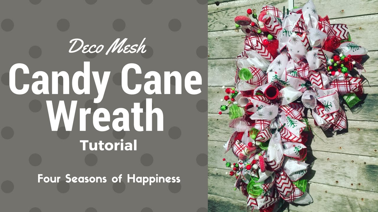 Candy Cane Wreath Deco Mesh How To Make A Candy Cane Wreath Easy