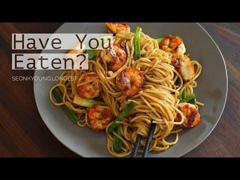 ASMR COOKING Wasabi Shrimp Spaghetti Noodles! Wafu (Japanese Style) Pasta!