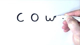 How to Turn Words cow Into a Cartoon - Art on Whiteboard for Kids