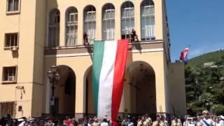 Festa della Repubblica in Piazza Amendola a Salerno, alzabandiera dei Vigili del Fuoco