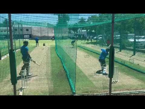 Zubayr Hamza and Aiden Markram in the nets at Newlands