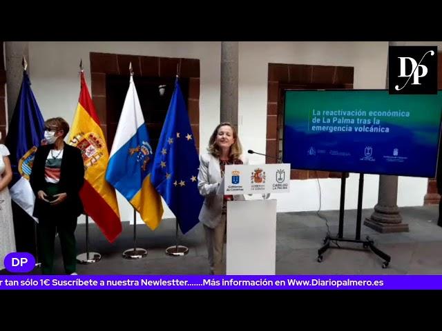 Rueda de prensa de la ministra Nadia Calviño en La Palma