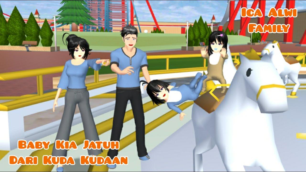 Baby Kia Jatuh Di Wahana Pasar Malam   Ica Alwi Family Vlog   Drama Sakura School Simulator