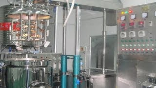 Tilting Homogenizing Vacuum Emulsifier Mixer Machine 100L With High Speed Homogenizer.flv