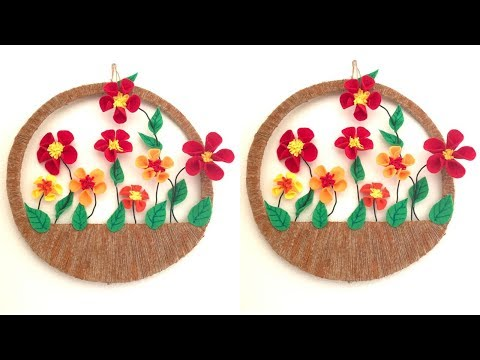 Felt flowers wall hanging/Floral  home decor using felt and jute