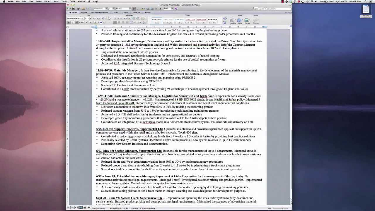 Multiple Page Resume Examples Two Page Resume To One Page In 30 Seconds