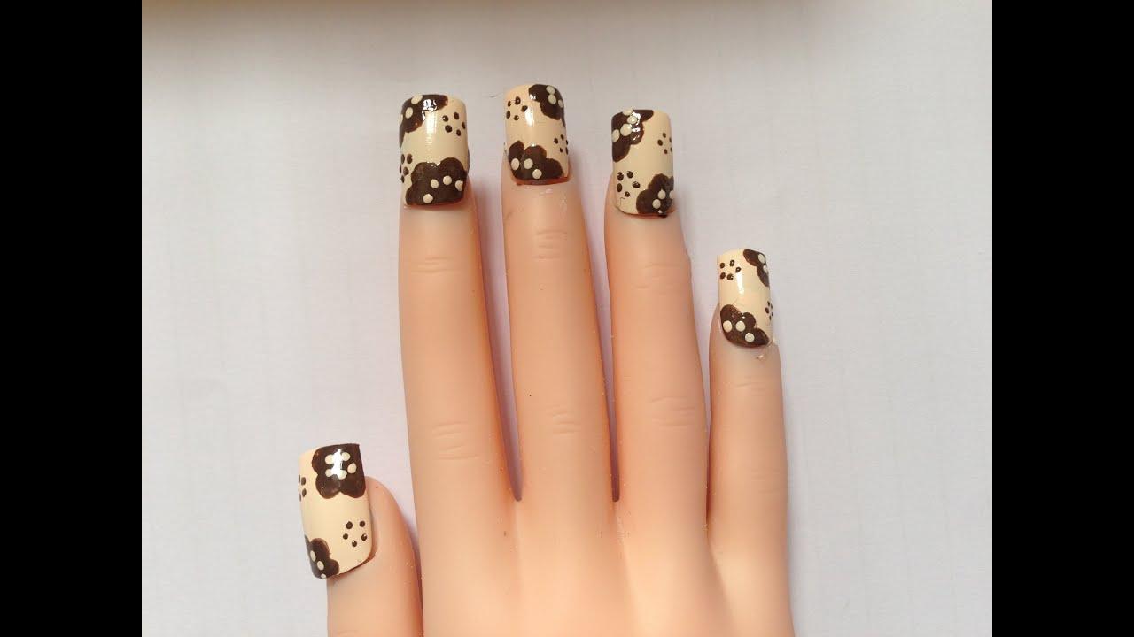 Modern Brown Floral Design Nail Art Tutorial Youtube