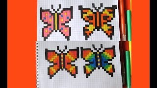 как нарисовать Бабочку 4 Варианта по клеточкам в тетради How to Draw Butterfly Pixel Art