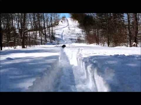 Snowmobile Trail Riding in Maine, Until one gets Stuck!