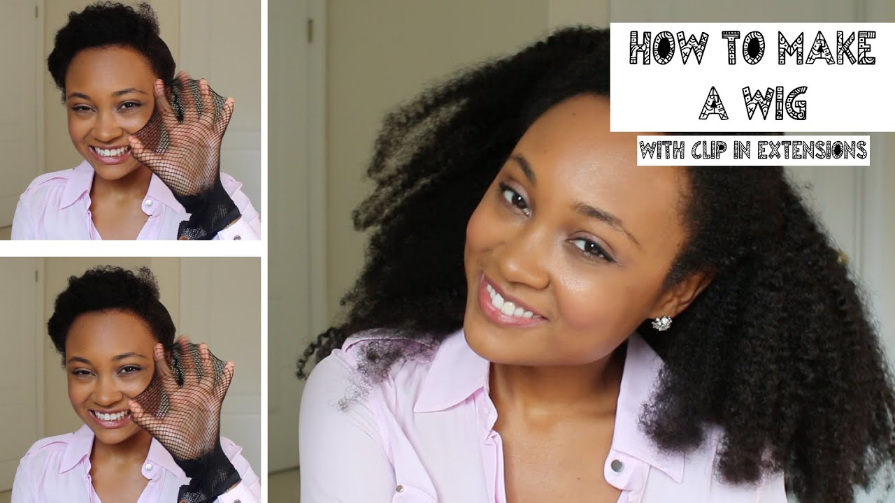 How To Make A Wig With Clip In Extensions Youtube