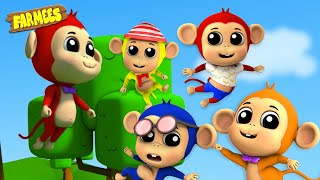 Five Little Monkeys | Animals Sound Song | Row Row Row your Boat from farmees