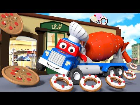 Misturador de concreto  Carl o Super Caminhão na Cidade do Carro  Desenho animado para crianças