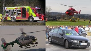 Train crash in Germany: emergency vehicles and helicopters arriving / leaving the scene