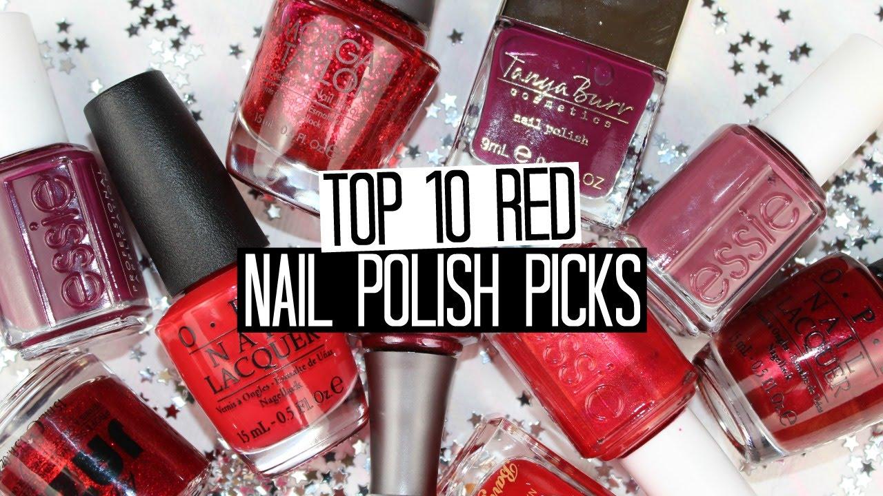 Top 10 Red Nail Polish Picks - YouTube