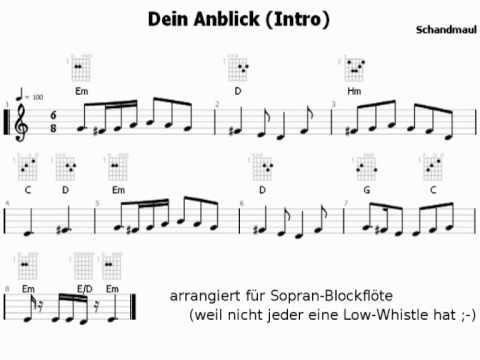 Schandmaul - Dein Anblick Intro für Blockflöte (Noten)