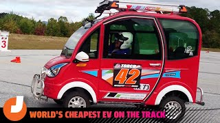 homepage tile video photo for What it's Like to Drive the World's Cheapest Electric Car on a Track