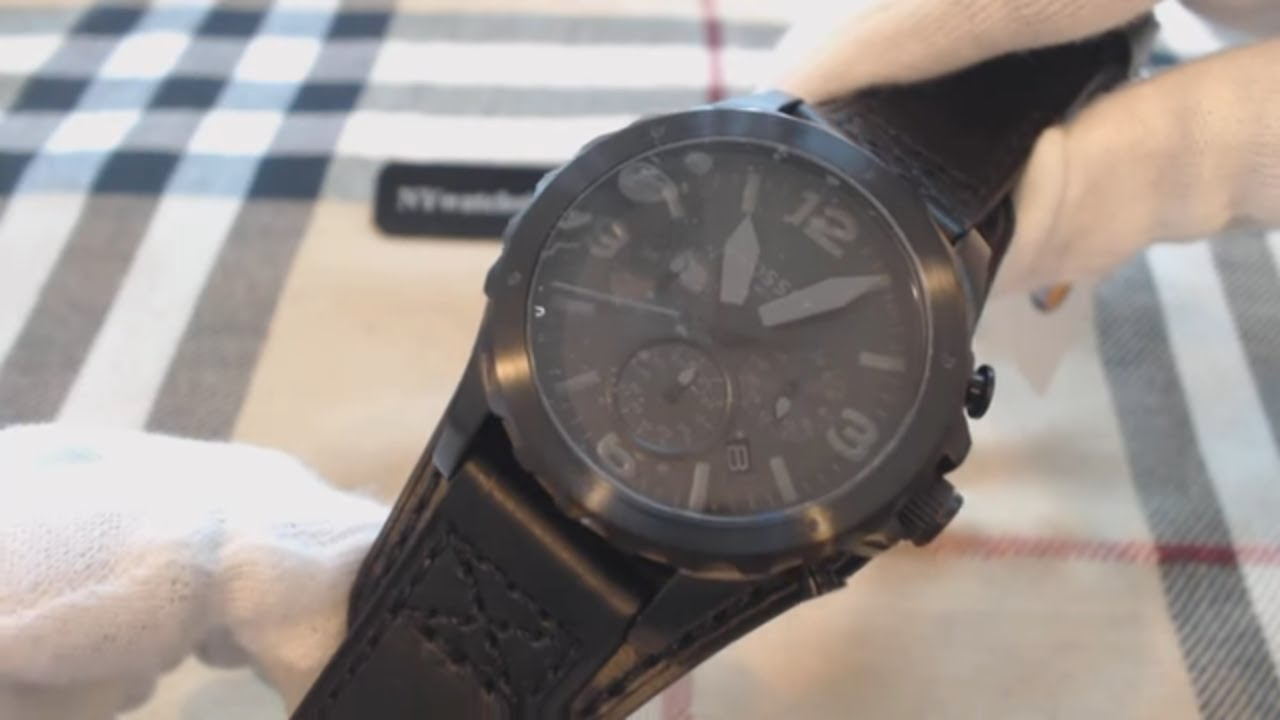 d8619a4bb Men's Fossil Nate Chronograph Black Leather Cuff Watch JR1510 - YouTube