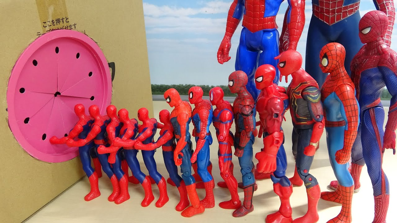 Download Various Spiderman go into Box in a row スパイダースすぽすぽ動画