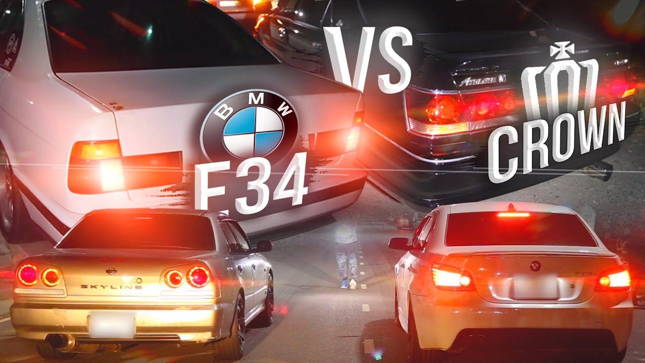 САМЫЙ БЫСТРЫЙ БМВ Е34 ПРОТИВ ЛЕГЕНДАРНОГО CROWN ATHLETE  ||  Skyline R34 340hp VS BMW E60 500hp