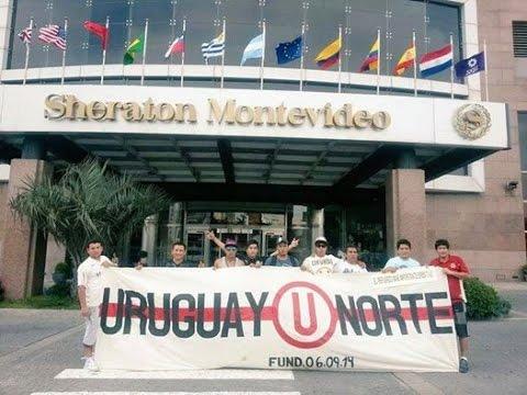 Hinchas Cremas presentes en el Hotel Sheraton de Montevideo