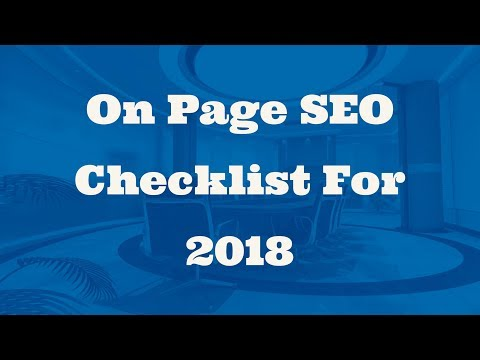 On Page SEO Checklist For 2018