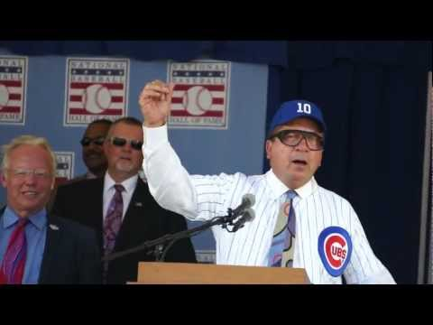 Johnny Bench imitating Harry Carey at HOF Induction Ceremony