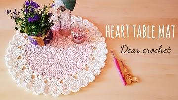 [코바늘 테이블 매트] 봄맞이 하트 테이블 매트,코바늘 코스터,테이블러너, 홈데코,코바늘 장식 소품(Crochet Table mat)