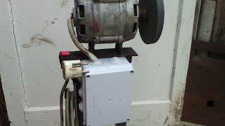 Самодельный наждак из двигателя от стиральной машины(Наждак для домашней мастерской на 160 вт 2700 об/мин. Заточной станок сделан из старой стиральной машины., 2015-06-21T12:15:27.000Z)