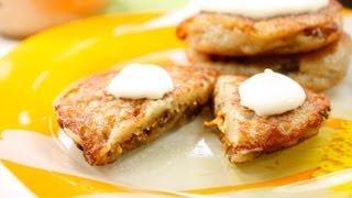 Картофельные оладьи фаршированные грибами видео рецепт