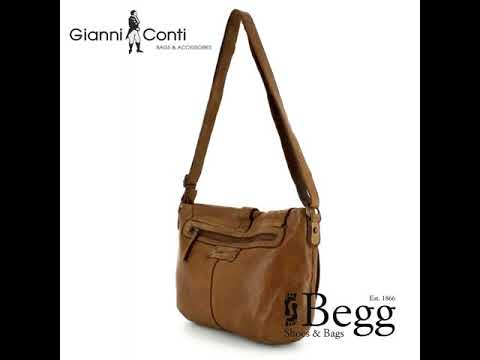 Gianni Conti Saddle Bag 4203513 25 Tan Leather Handbag