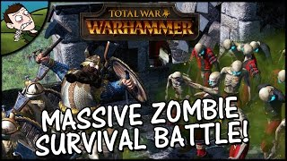 ZOMBIE SURVIVAL! Total War WARHAMMER Siege Gameplay - Massive 4 v 2 battle!