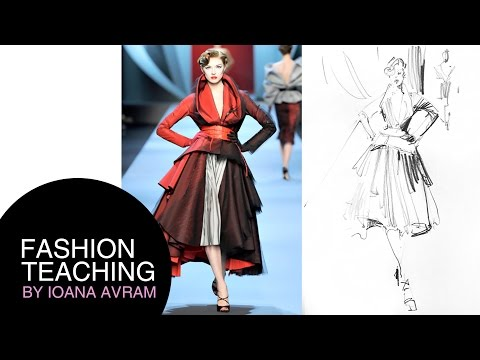 Fashion Sketch In Pencil Inspired By Christian Dior
