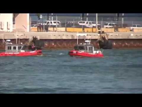[HD1080] US Coastguard Training Exercise, Dodge Island / Fishermans Channel, Miami